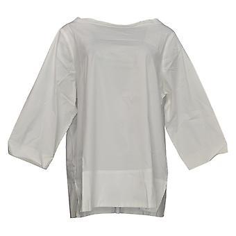 Martha Stewart Mujeres's Top Stretch Poplin Embnel Cuello Blanco A353799