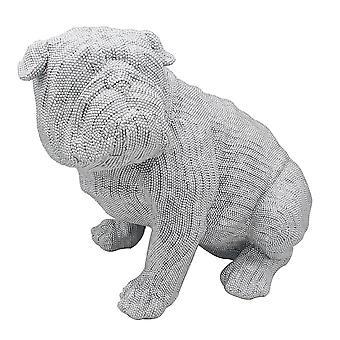 Silver Art Large Bulldog Sitting Statue