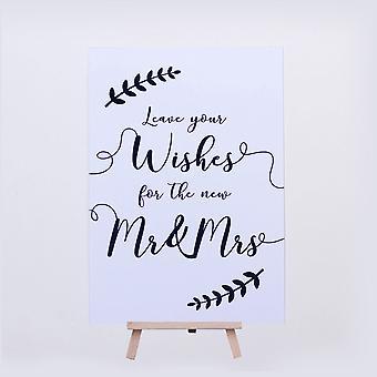 Bruiloft teken laat uw wensen teken Dhr en mevrouw blad krans kaart en ezel