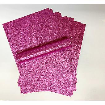 10 A4 Fuchsia Pink Glitter Paper Soft Touch Non Shed 150gsm
