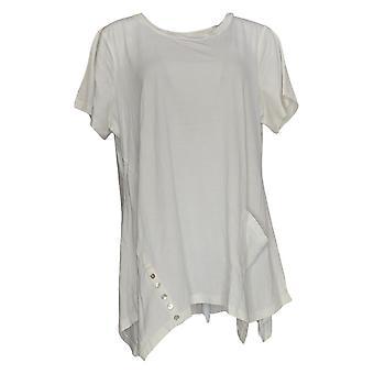 LOGO by Lori Goldstein Women's Plus Top Cotton Modal Button White A301072