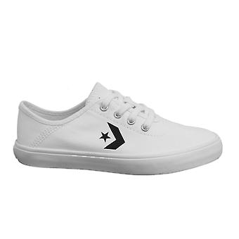 Converse Costa Ox Kids White Textile Low Lace Up Junior Trainers 663647C