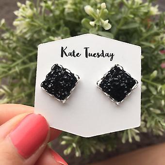 Black Square Druzy Earrings