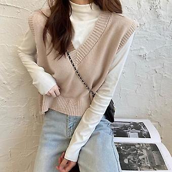 Syksyn villapaitaliivi, korealainen tyylikäs opiskelija V-kaula-aukko Pullover Loose Casual