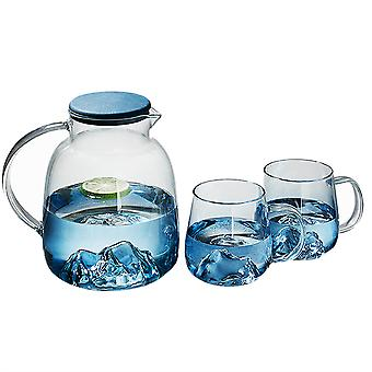 Blue Water Pitcher With 2 Glasses 1800ml