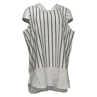 Kathleen Kirkwood Women's Top Striped Tank Shirttail Hem White A352377