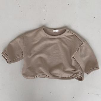 Το μωρό/τα κορίτσια στερεό χαλαρό μακρύ μανίκι fleece πυκνώνουν το θερμό φούτερ πουλόβερ