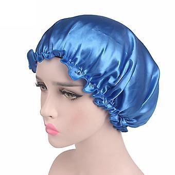kvinner sateng natt søvn cap, bonnet lue, silke hodetrekk, bredt elastisk bånd