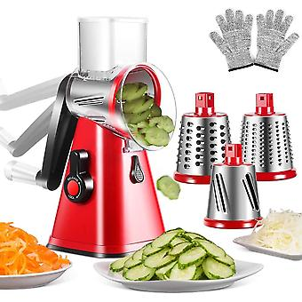 3-in-1 Vegetable Chopper Spiralizer Manual Cheese Grater Shredder with Interchangeable Stainless