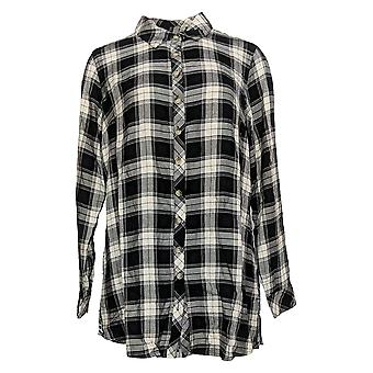Tolani Women's Top Regular Button Front w/ Printed Back Black A354814