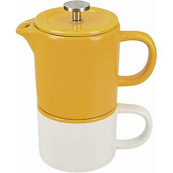 La Cafetire Barcelona Small Cafetiere and Coffee Mug Set, Ceramic, Mustard Yellow, 2 Pieces