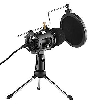 Video microfoon kit met mini statief schok mount pop filter voorruit usb adapter kabel 3,5 mm trs stekker