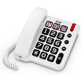 Wokex Komfortnummern Festnetztelefon mit groen Ziffern und DREI Fotos mit Direktspeichern inklusive