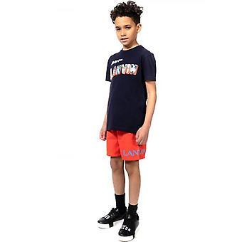 Lanvin Kids Red Print Logo Uimas shortsit
