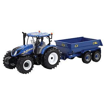 Britains New Holland T6 Blue Tractor & Trailer Playset 1:32  43268