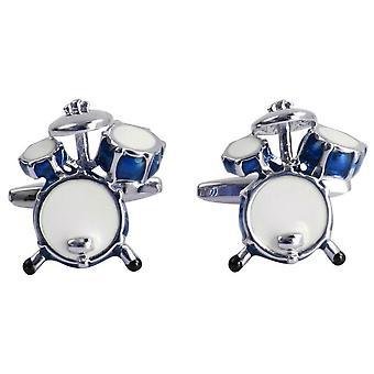 Zennor Drum Manchetknopen - Blauw/Zilver