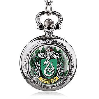 New Witchcraft Slytherin School Snake Pendant Necklace Quartz Pocket Watch