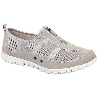 Boulevard Jayne Ladies Suede Wide Fit Casual Shoes Grey