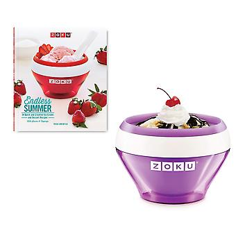Zoku Ice Cream Maker + receptenboek - Paars - 10 minuten sorbet bevroren yoghurt