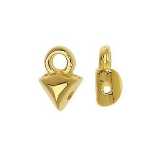 Cymbal Perle Endings passer GemDuo perler, Kleftiko, 7mm, 4 stykker, 24kt gullbelagt