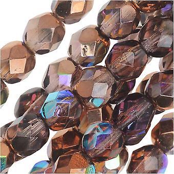 Tjekkisk Fire Poleret Glas, Facetteret Runde Perler 6mm, 25 Stykker, Light Amethyst Kobber Rainbow