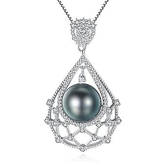 Gemshadow women 925 sterling Silver 10 - 11 mm cultivated tahiti black pearl necklace