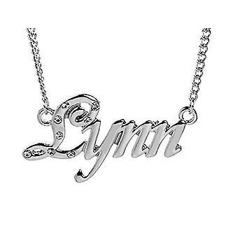 """L Lynn - 18-karat hvid forgyldt halskæde, med tilpasselig navn, justerbar kæde af 16 """"- 19"""", i Regal Packaging"""