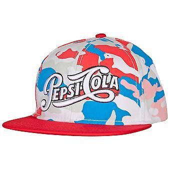 Pepsi Cola Text Brand Camo Adjustable Snapback Hat