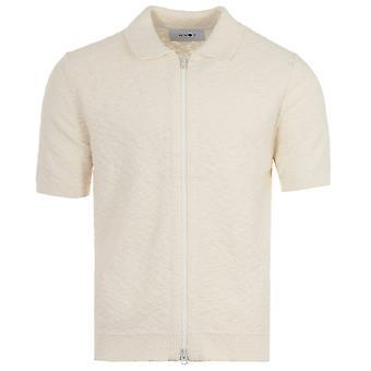 NN07 Joshua Zip Through Knitted Polo Shirt - Off White