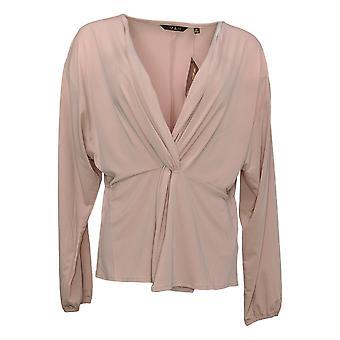 IMAN Global Chic Women's Top Long Sleeve Twist-Front Pink 711746