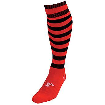 Präzision Hooped Pro Fußball Socken rot/schwarz - UK Größe J12-2