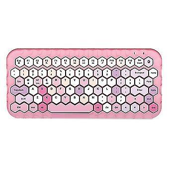 Mofii Miere Bt Wireless Bt Tastatură Mixed Color 83 Cheie Mini Portable (Roz)