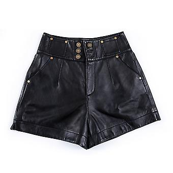Mimigo Women's Spring High Waisted Leather Shorts Casual Short Jean Pants Genuine Sheepskin Leather Female Shorts With Pockets