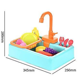 Juguetes del fregadero de la cocina, lavavajillas eléctricos sensibles al calor de los niños jugando al juguete con agua corriente (verde)