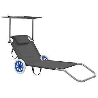 vidaXL sammenleggbar sofa med solbeskyttelse og hjul Steel Grey