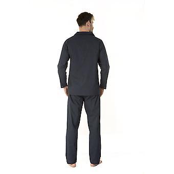 Haigman Miesten 100% Puuvilla Long Pyjama Lounge Wear XXL Navy Dots Lahja Boxed