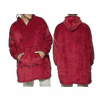 Adult Super Soft Loose Oodie-comfy Nightware Fleece Blanket(Red)