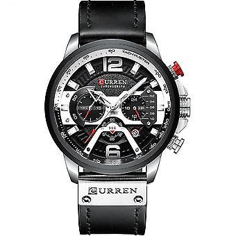 שעוני ספורט מזדמנים, חולצה כחולה, שעון יד מעור צבאי, שעון אדם,(שעון שחור כסוף)