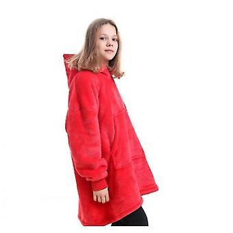 Blanket Pullover Children Can Wear Hooded Blanket Pockets(Red1)