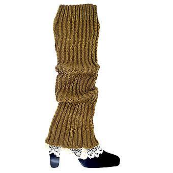Braune Beinwärmer mit Spitze