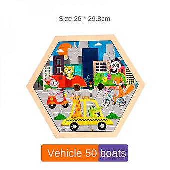 3-7 Years Old Children's Jigsaw Puzzle Round Wooden Educational Toy-(car)