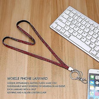 Rhinestone Crystal Bling Brugerdefineret Lanyard & Amp; Id Badge Mobiltelefon Key Holder Ring