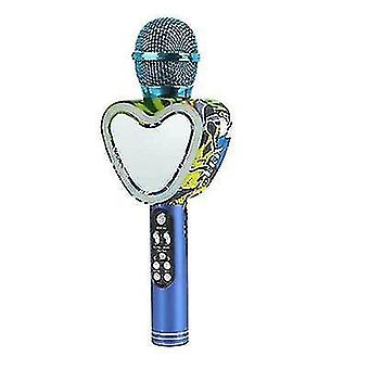 Microfono karaoke bluetooth wireless a forma di cuore,4 in 1 con luci a led per ktv (blu)