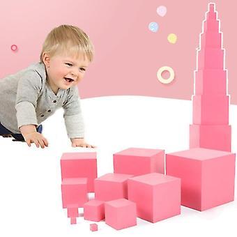 الحسية المواد الوردي برج مرحلة ما قبل المدرسة التعليمية لعب الأطفال برج التعلم 