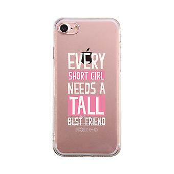 Kort flicka behöver lång bästa vän Transparent söt tydlig Phonecase