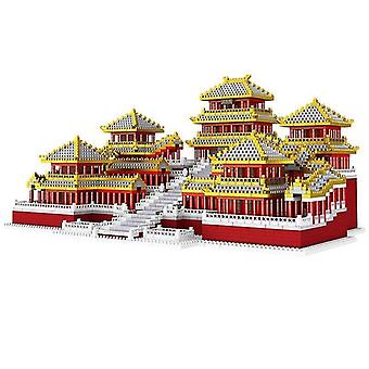 Wooden blocks cb5184 pcs old chinese building afanggong diamond tiny particles blocks assembly model brain game