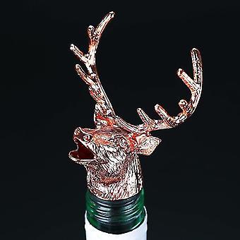 Scandinavische stijl zinklegering dier thema wijn stopper en pourer (Rose Gold Deer Head)