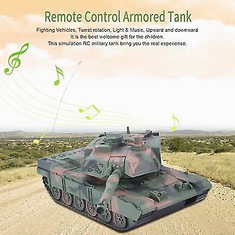 1:14 4ch Simulation Rc Military Tank Turret Rotation Light & Music Kids Toy
