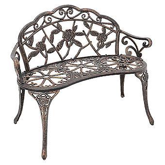 Antique Designed Outdoor Garden Park Bench Rose Style Bronze Bench