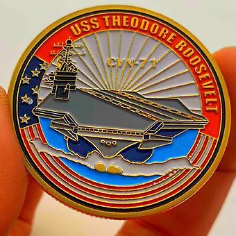 נושאת מטוסים אמריקאית Cvn-17 נושאת מטוסים מצופה זהב אוסף מדליות הנצחה רוזוולט נושאת מטוסים מטבעות זהב